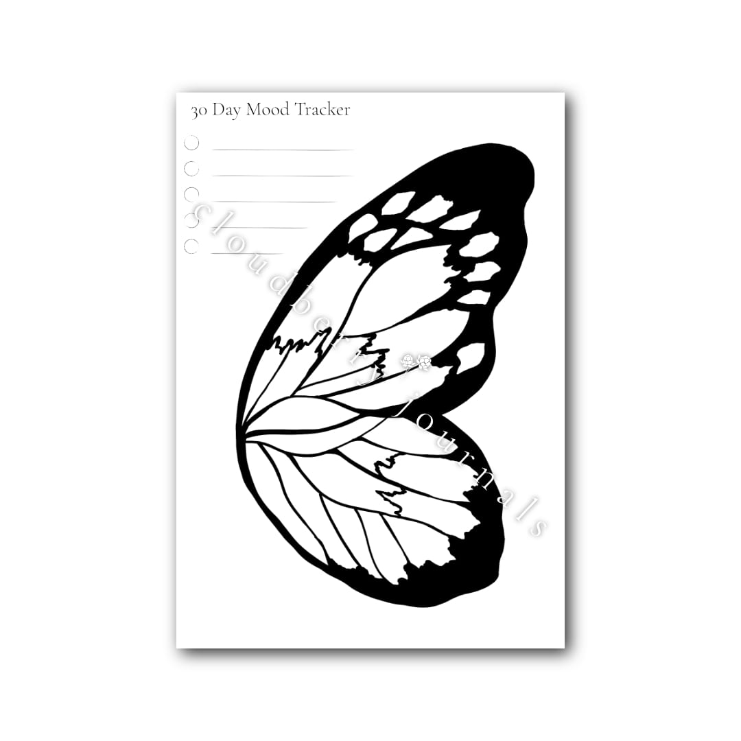 butterfly wing mood tracker on white